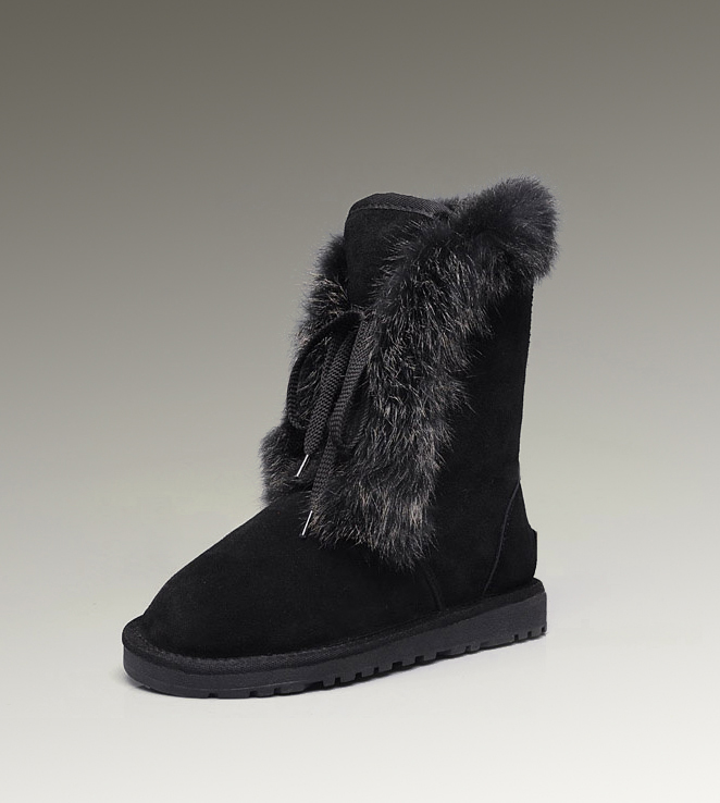 UGG Fox Fur Short 3586 Black Boots